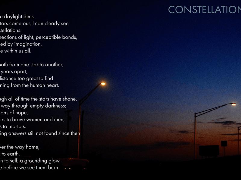 Feature photo, constellations, a poem by Vincent Van Patten